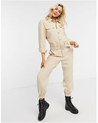 ONLY Sanni Long Sleeve Utility Jumpsuit - Natural