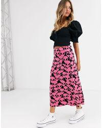 FABIENNE CHAPOT Falda midi tipo combinación con estampado - Rosa