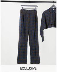 Collusion Pantalon d'ensemble coupe droite à carreaux avec double ceinture - Bleu