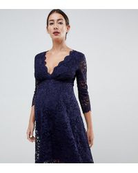 723a68adfd6 Flounce London - Lace Prom Dress With 3 4 Sleeve In Navy - Lyst