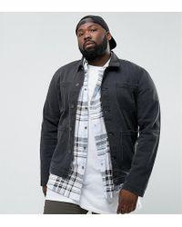 ASOS - Asos Plus Denim Worker Jacket In Washed Black - Lyst