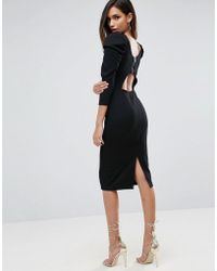 ASOS - Midi Dress With Puff Sleeve And Cut Out Back - Lyst