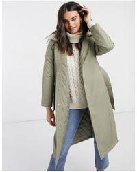 Fashion Union Удлиненная Куртка-парка С Отделкой Из Искусственного Меха И Поясом -зеленый
