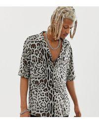 Reclaimed (vintage) Chemise à imprimé léopard - Noir