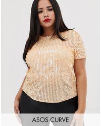 ASOS Asos Design - Curve - T-shirt Met Lovertjes - Meerkleurig