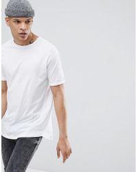 Bershka - Longline T-shirt In White - Lyst