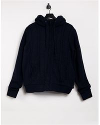 French Connection Wool Blend Borg Lined Hooded Knit Jumper - Blue