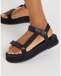 Truffle Collection Sporty Espadrille Sandals - Black