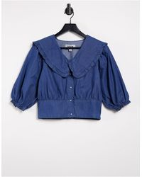 New Look Denim Collar Blouse - Blue