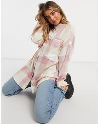 Monki Carrie Organic Cotton Check Print Shirt - Pink
