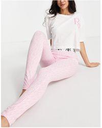 River Island Розовый Пижамный Комплект С Логотипом-монограммой -розовый Цвет