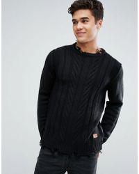 Jack & Jones - Originals Knitted Jumper With Destroyed Hem Detail - Lyst