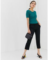 Benetton Cropped Chino In A Casual Fit - Black