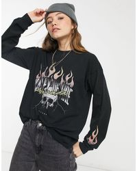 ASOS Oversized T-shirt With Long Sleeve And Rock Print - Black