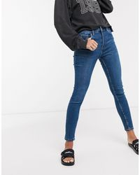 Bershka Superskinny 5 Jeans Met Zakken - Blauw