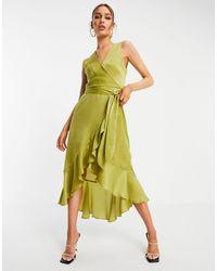 AX Paris Золотистое Атласное Платье Миди С V-образным Вырезом -многоцветный - Металлик