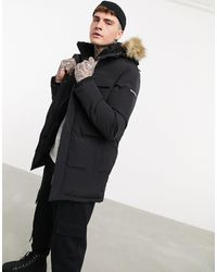 Good For Nothing Double Layer Parka With Faux Fur Hood - Black