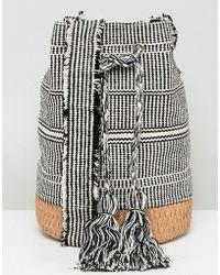 Pull&Bear - Tassle Drawstring Bag In Grey - Lyst