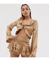 Missguided Exclusive Co-ord Tie Front Satin Blouse With Frills In Gold - Metallic