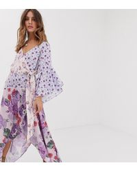 White Sand Asymmetrische Midaxi-jurk Met Contrasterende Ruches In Bloemenprint - Paars