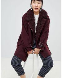 Monki Faux Fur Collar Coat - Red