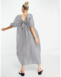 Object Organic Cotton Reversible Maxi Smock Dress With Tie Detail - Blue