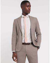 Moss Bros Moss London Slim Fit Suit Jacket - Brown
