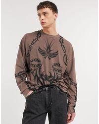 Jaded London Long Sleeve T-shirt With Tattoo Print - Brown