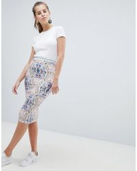 Oeuvre - Printed Midi Skirt With Striped Waist Detail - Lyst