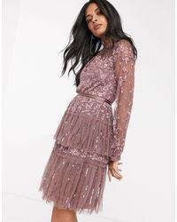 Needle & Thread Robe courte volantée à broderie avec manches transparentes - Merlot - Violet