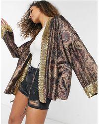 Free People Layla - Versierde Kimono Met Lovertjes En Print - Zwart