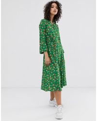 Finery London Daniella Floral Print Shirt Dress - Green