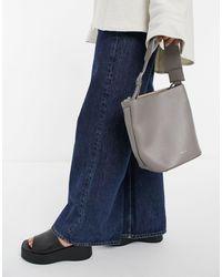 Reiss Hudson Leather Mini Bucket Bag - Gray