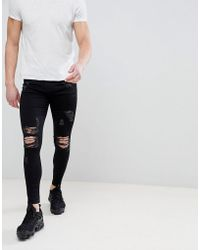 Good For Nothing - Super Skinny Jeans In Black With Distressing - Lyst