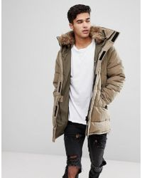 Mango - Man Parka With Faux Fur Hood In Tobacco - Lyst