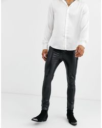 ASOS 'cigarette' Skinny Coated Leather Look Jeans - Black