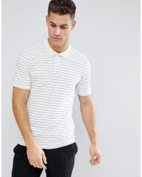 SELECTED - Striped Polo Shirt - Lyst