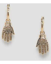 Rock N Rose - Gold Ornate Hand Drop Hoop Earrings - Lyst