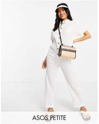 ASOS Asos Design Petite Button Through Chuck On Shirt Jumpsuit - White