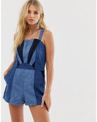 Blank NYC Kurzer Jumpsuit aus Jeansstoff im Stil der 70er - Blau