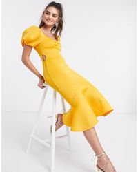 ASOS Puff Sleeve Side Cut Out Midi Dress - Yellow