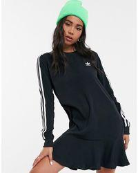 Womens Adidas Originals Black Hoodie Three Stripe Maxi Dress