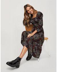 Miss Selfridge Платье Миди С Присборенным Лифом И Цветочным Принтом Красного Цвета -черный Цвет