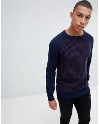 Another Influence Waffle Front Sweater - Blue