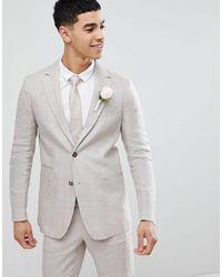 Benetton Wedding Regular Fit Linen Suit Jacket - Multicolour
