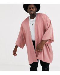 ASOS Plus Crushed Satin Kimono - Pink