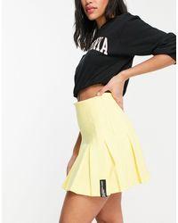 Bershka Half Pleat Tennis Skirt - Yellow