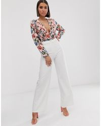Missguided - Plunge Body In Pink Floral - Lyst