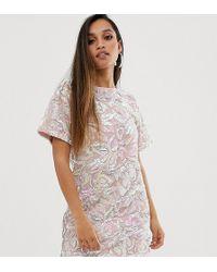 Flounce London Velvet Iridescent Sequin T Shirt Dress In Pink - Multicolor