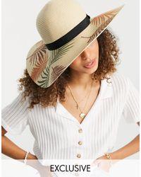 South Beach - Соломенная Шляпа Телесного Цвета С Принтом Пальмовых Листьев -нейтральный - Lyst